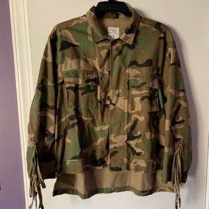 Zara Camo fringe jacket